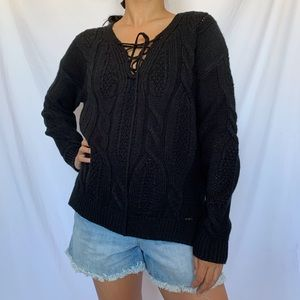 Forever 21 Black Knit Lace-Up Sweater